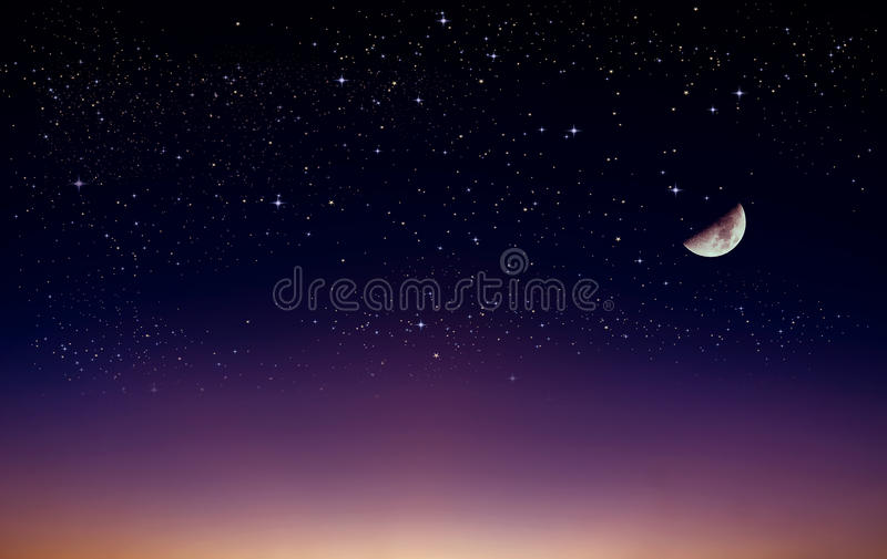 A view at night, with half moon, shining white stars in the sky, twilight from far horizon line royalty free illustration