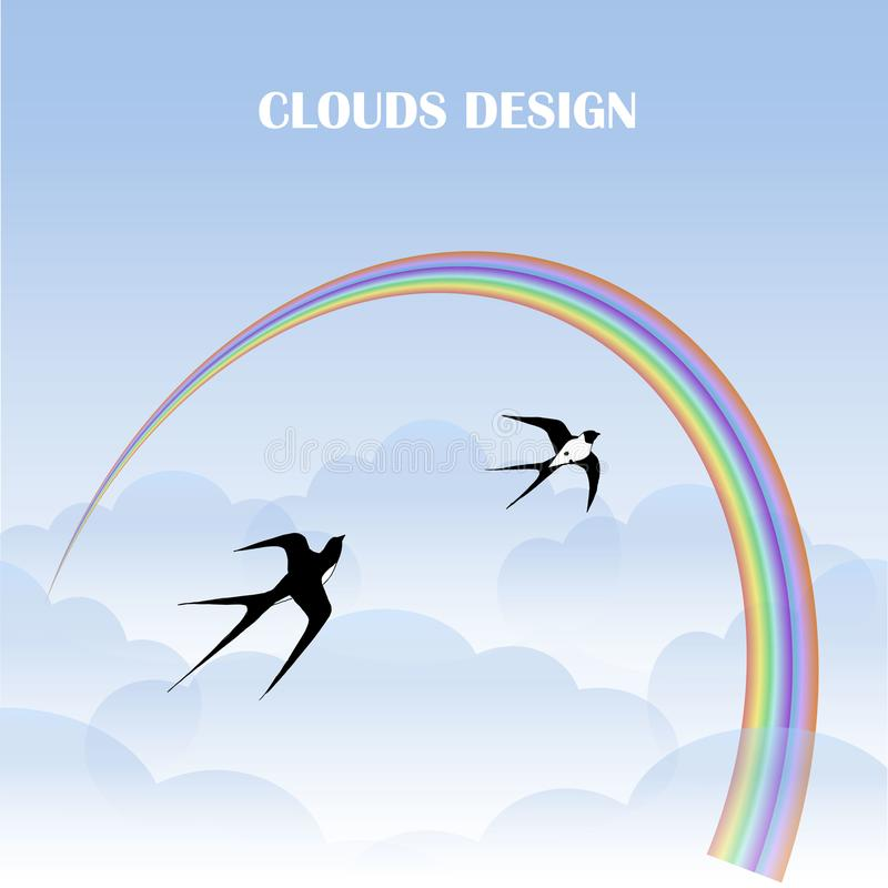 Clouds design background, colorful rainbow, flying swallows stock vector illustration