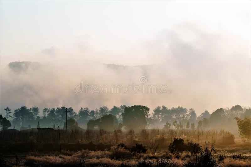 clouds field in the sunrise stock photography