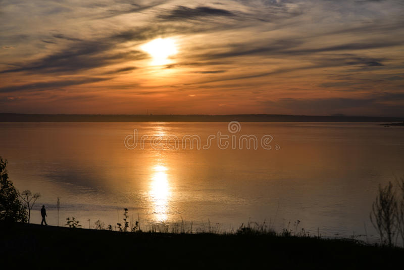 Sunset in russia, Siberia, evening, river, yenisei, water, lake, twilight royalty free stock photos