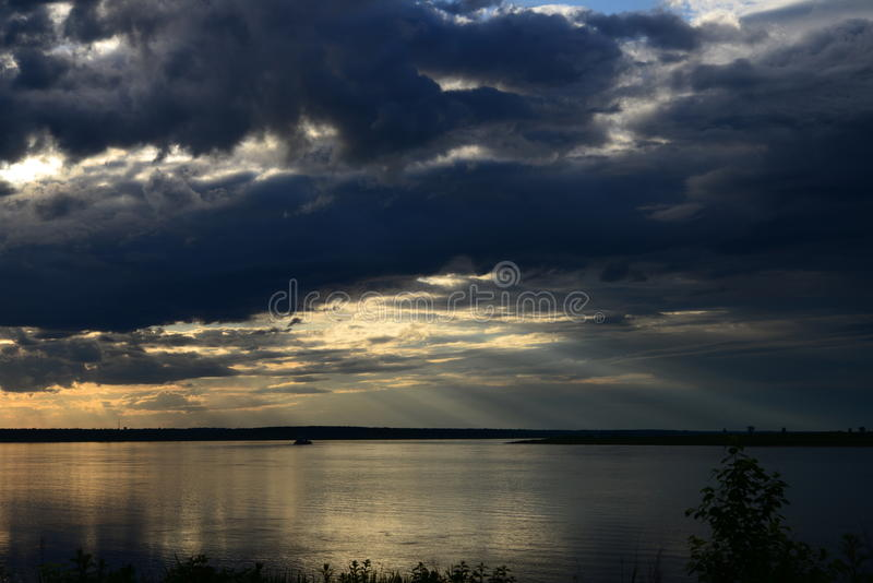 Sunset in russia, Siberia, evening, river, yenisei, water, lake, twilight royalty free stock photography
