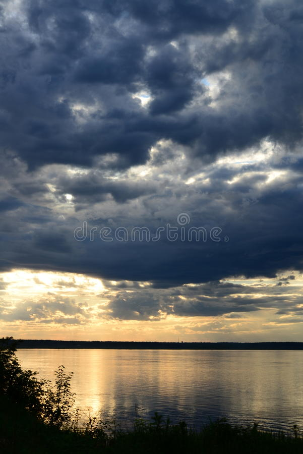 Sunset in russia, Siberia, evening, river, yenisei, water, lake, twilight royalty free stock image