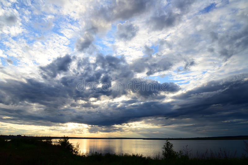 Sunset in russia, Siberia, evening, river, yenisei, water, lake, twilight stock photos