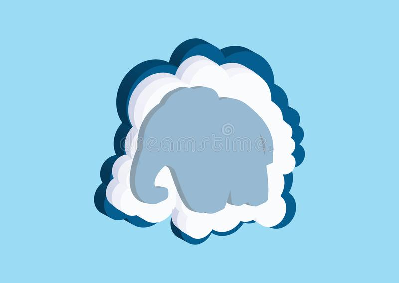 Clouds in the form of a elephant. Vector icons cloud blue and white color on a blue background. Sky is a dense collection of illus. Trations for web design, art stock illustration