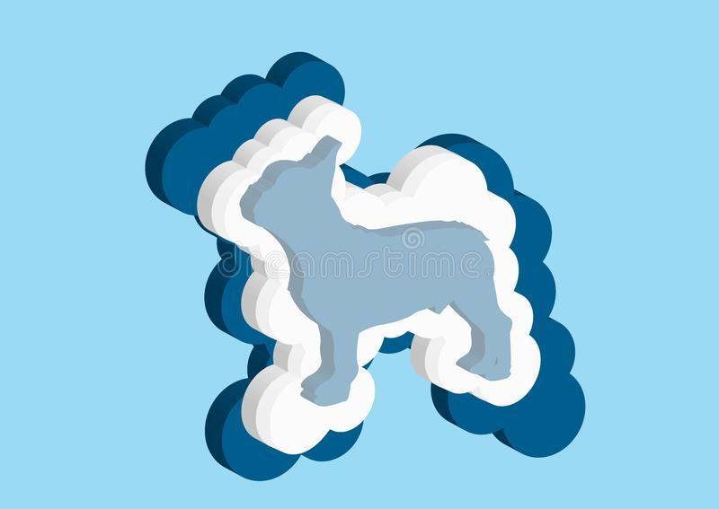 Clouds in the form of a French Bulldog. Vector icons cloud blue and white color on a blue background. Sky is a dense collection of. Illustrations for web design royalty free illustration