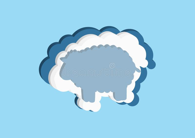 Clouds in the form of a lamb. Vector icons cloud blue and white color on a blue background. Sky is a dense collection of illustrat. Ions for web design, art and royalty free illustration