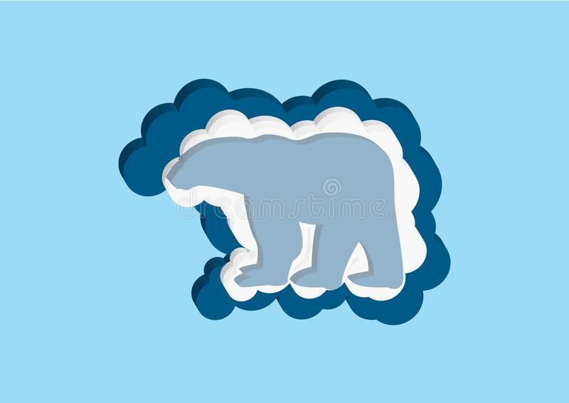 Clouds in the form of a polar bear. Vector icons cloud blue and white color on a blue background. Sky is a dense collection of ill. Ustrations for web design royalty free illustration