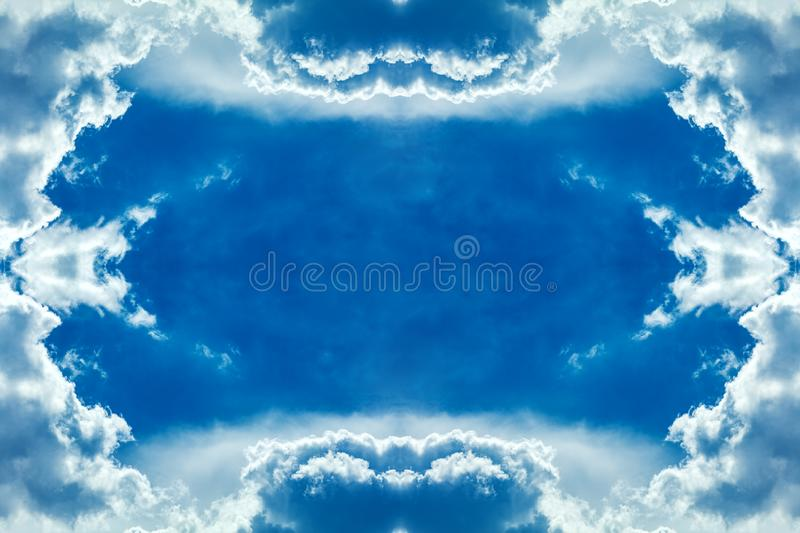 Clouds frame in sky. Dramatic cloudscape and sunlight jet view background royalty free stock images