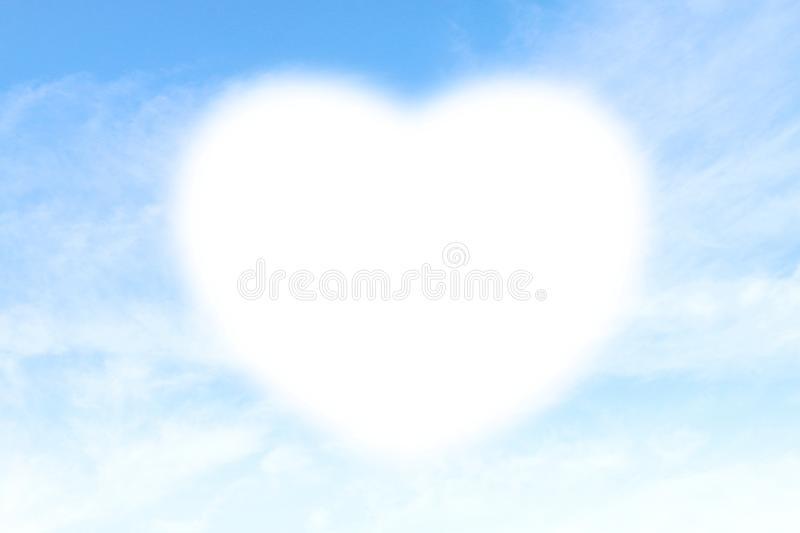 Clouds Heart shape white soft on Sky Blue background, Heart-shaped on sky for design valentine greeting cards copy space message w. The Clouds Heart shape white stock photos