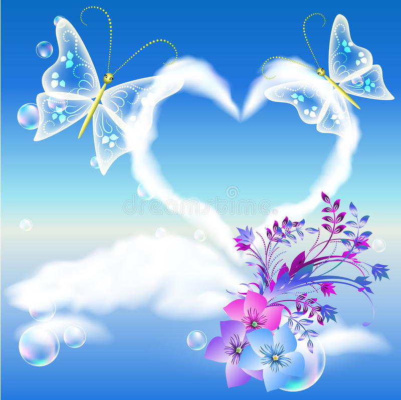 Clouds heart and two butterflies stock illustration