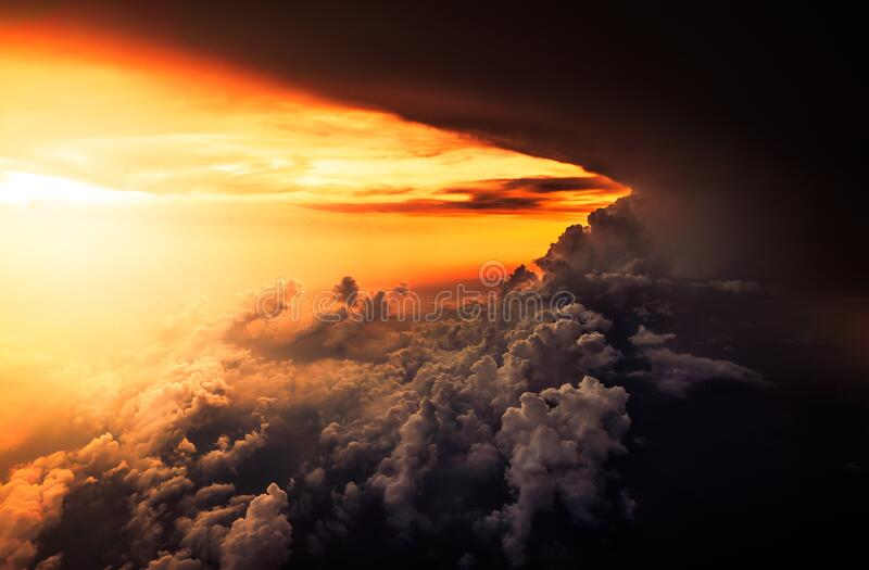 Clouds in horizon at sunset royalty free stock photography