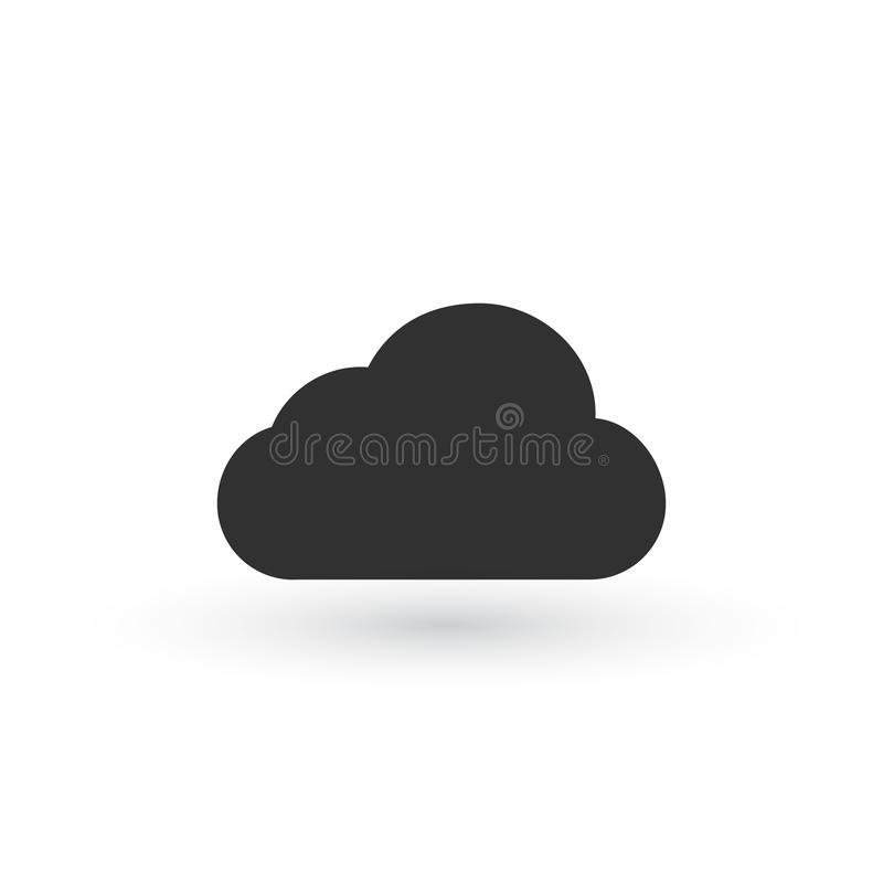 Clouds Icons. Black Flat Design. Vector Illustration. Isolated royalty free illustration
