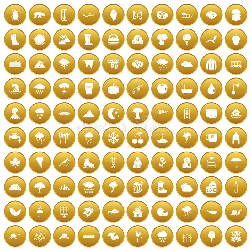 100 clouds icons set gold. 100 clouds icons set in gold circle isolated on white vectr illustration royalty free illustration