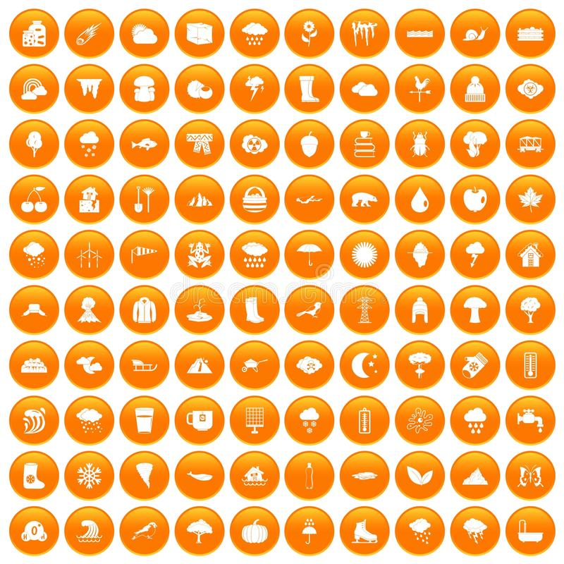 100 clouds icons set orange. 100 clouds icons set in orange circle isolated vector illustration stock illustration