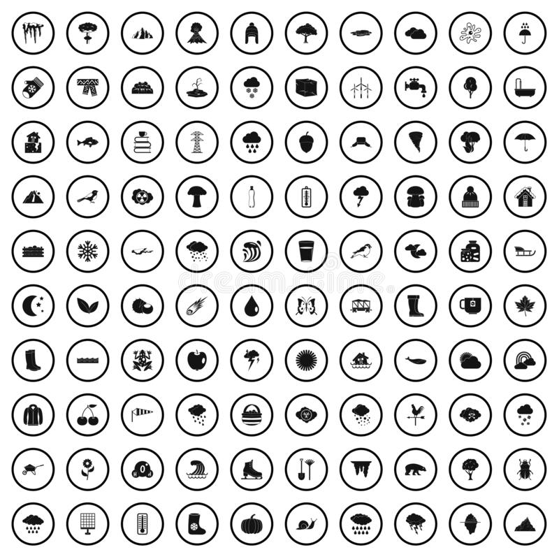 100 clouds icons set, simple style. 100 clouds icons set in simple style for any design vector illustration royalty free illustration