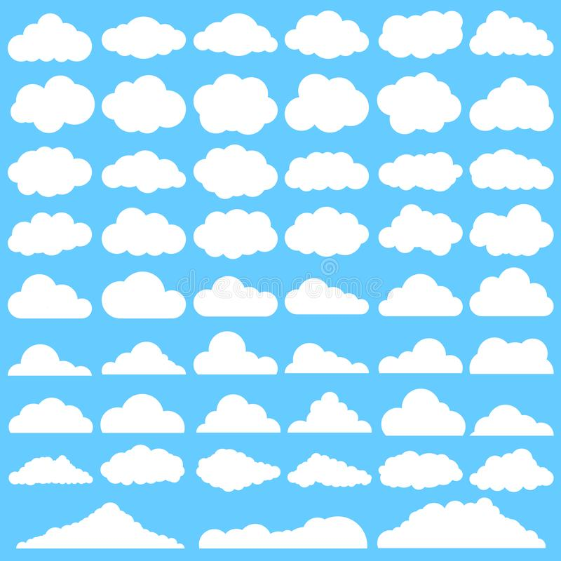 Clouds icons vector set. Cloud illustration symbol collection. For web sites or mobile stock illustration