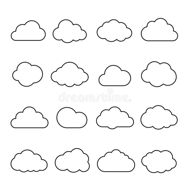 Clouds line art icon stock illustration