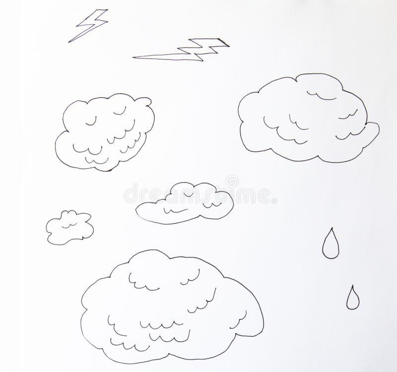 Clouds line art icon. Storage solution element, databases, networking, software image. Vector line art illustration isolated on. Clouds line art icon. Storage royalty free stock image