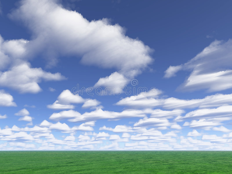 Clouds and meadow royalty free stock photos