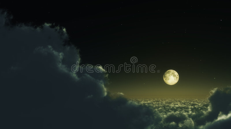 Clouds and Moon stock photos