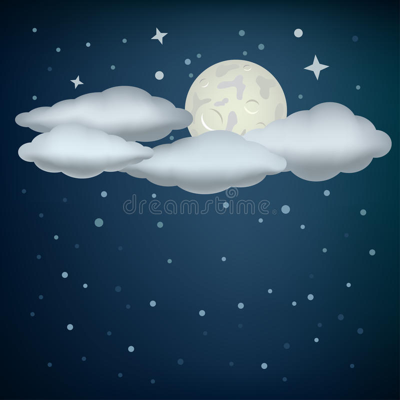 Clouds and moon vector illustration