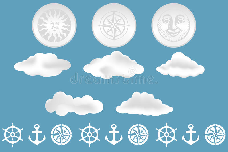 Clouds and nautical design elements. Isolated on blue background - as vector and jpg-file available stock illustration