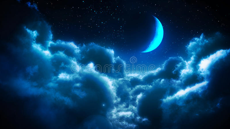Clouds at night. Blue image with clouds at night