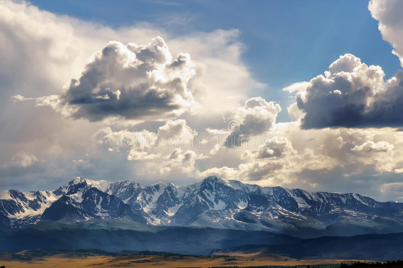 Clouds over Altai mountain chain royalty free stock image