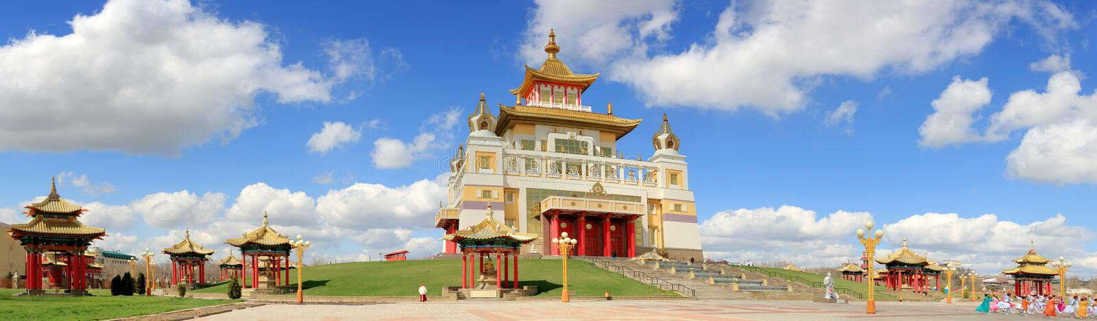 Clouds over the Buddhist temple. Golden Abode of Buddha Shakyamuni in Elista, Republic of Kalmykia, Russia on April 20, 2015. ELISTA, REPUBLIC OF KALMYKIA royalty free stock photos