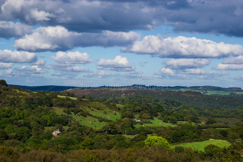 Clouds over Dartmoor. Farms and clouds over England's uplands of Dartmoor,Devon royalty free stock photography