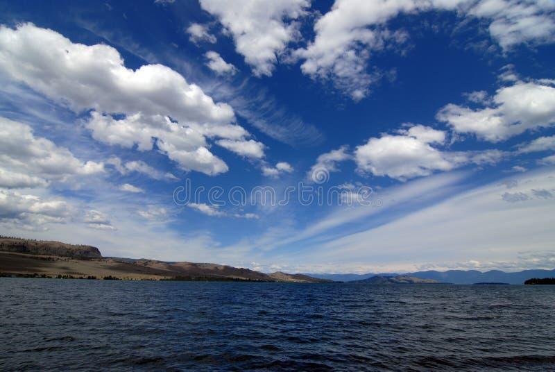 Clouds over Flathead Lake stock photo