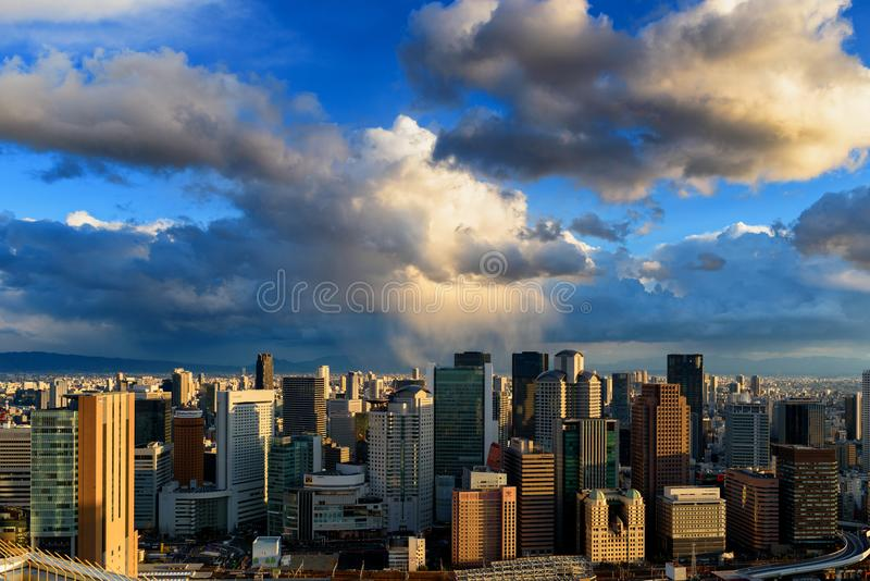 Clouds over Osaka royalty free stock photos