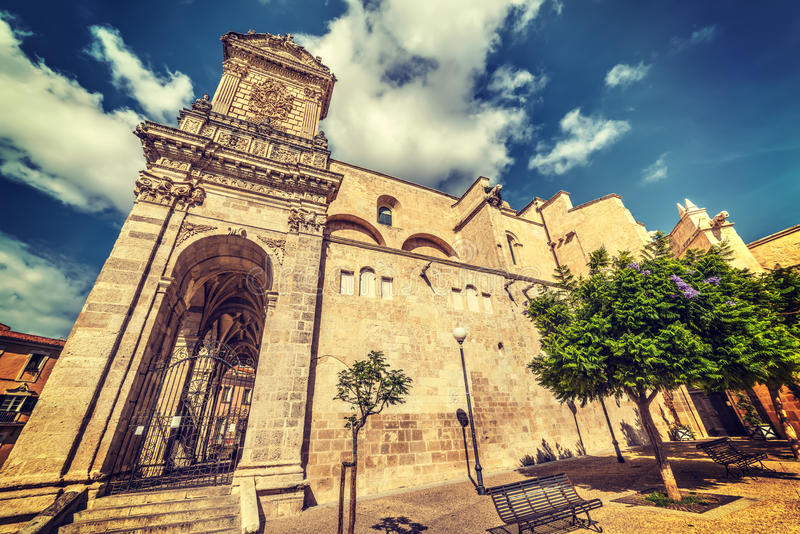 Clouds over San Nicola cathedral. San Nicola cathedral in Sassari, Italy stock photography