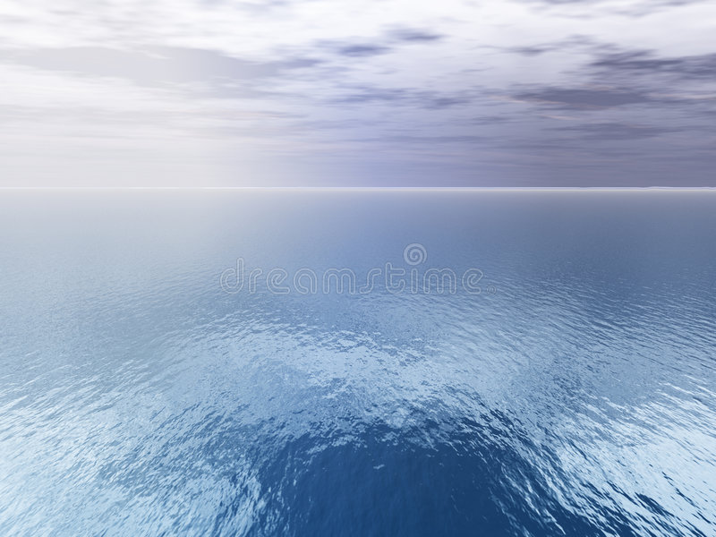 Clouds Over Sea -- Aerial View stock illustration