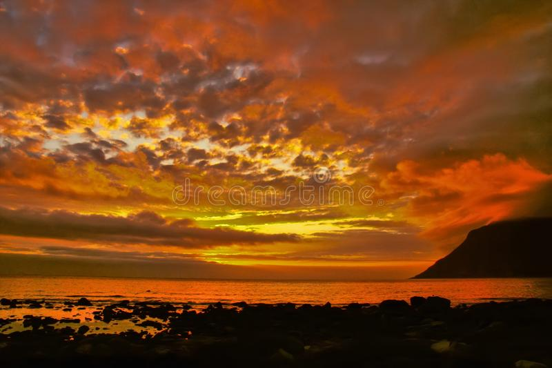 Clouds over the sea in the polar night, Norway. The Clouds over the sea in the polar night, Norway stock photos