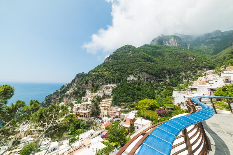 Clouds over world famous Positano in Amalfi coast royalty free stock photo