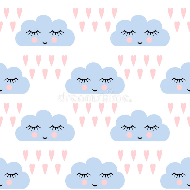 Clouds pattern. Seamless pattern with smiling sleeping clouds and hearts for kids holidays. Cute baby shower vector background. vector illustration