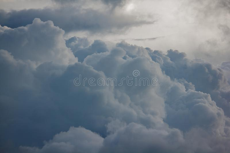 Clouds of rain on the sky began to form. Before falling stock image