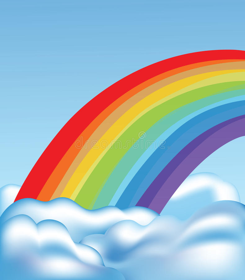 Download Clouds and rainbow stock vector. Illustration of wind - 16663336