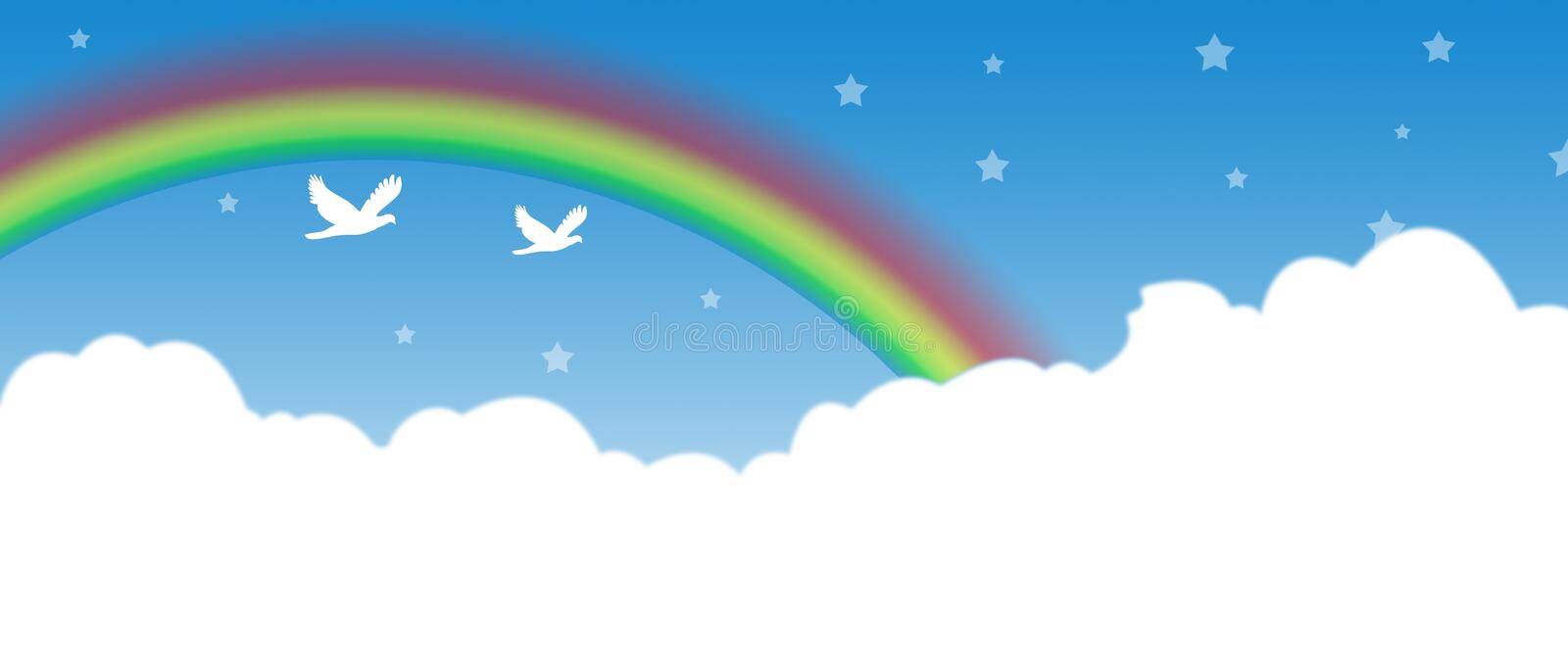 Download Clouds with Rainbow stock illustration. Image of cloud - 21632326