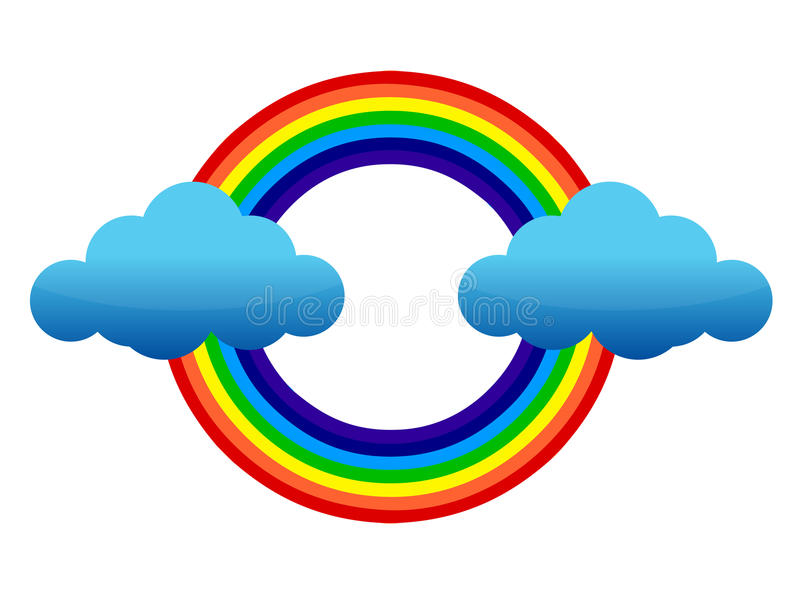 Clouds and rainbow. Illustration design over white stock illustration