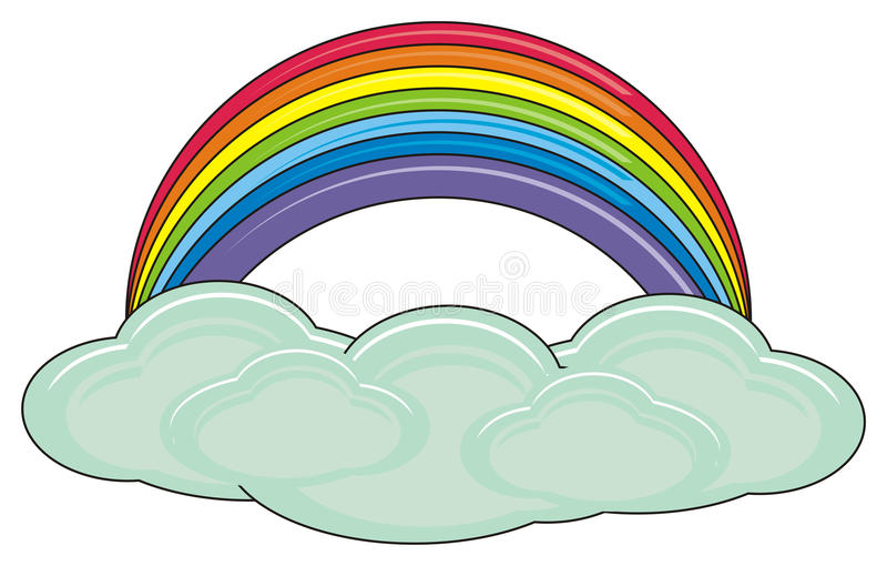 Clouds with rainbow stock illustration