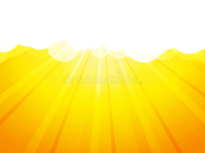 Clouds with rays yellow background vector illustration