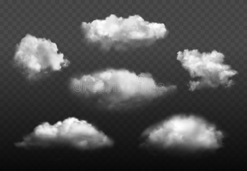Clouds realistic. Blue cloudy sky weather elements vector picture set. Cloudy air environment, cloudscape atmosphere smoky illustration stock illustration