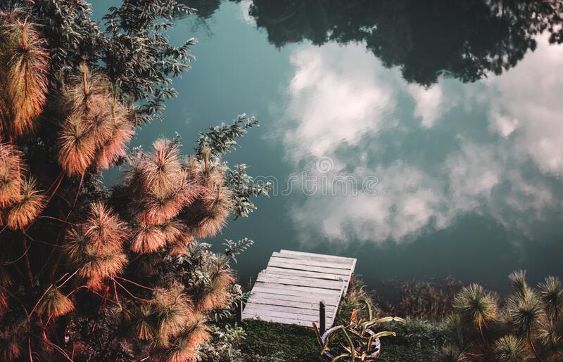 Clouds reflecting on countryside lake royalty free stock photography