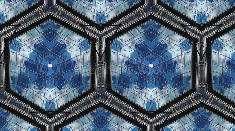 Clouds in reflection. Abstract photo honeycomb pattern. White, blue and green. Black and brown. Seamless photo background pattern. Abstract shapes. Reflection vector illustration