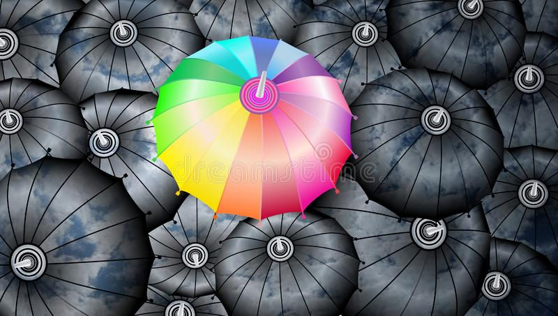 Umbrellas. Clouds reflection on the umbrellas with a rainbow umbrella. abstract vector illustration. many uses for advertising, book page, paintings, printing