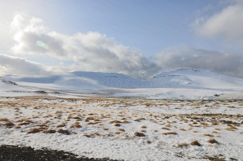 Clouds Resting on Top of Snaefellsness Glacier in iceland stock images