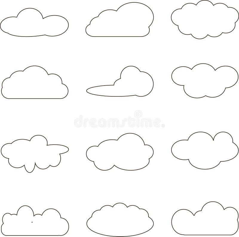 clouds samlingen Beräknande packe för moln stock illustrationer