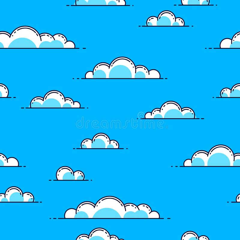 Clouds seamless background, weather and outdoors, cloudscape sky. Clouds seamless background, weather and outdoors, cloudscape sky, vector wallpaper or web site stock illustration